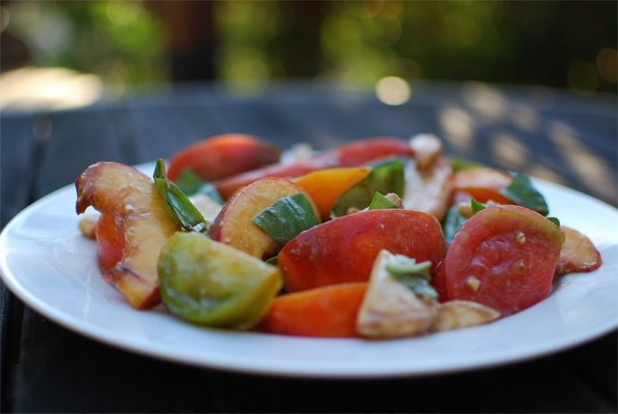 Heirloom Tomato and Peach Caprese Salad