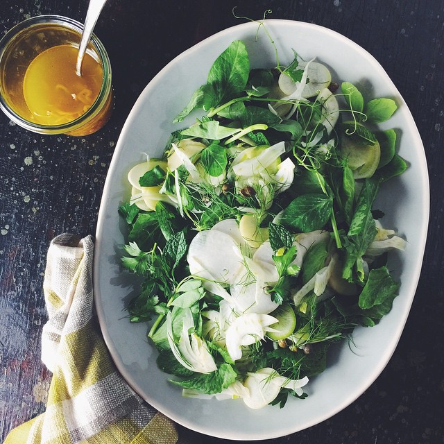 Spring on a plate. Pea shoots, shaved fennel, turnip and…