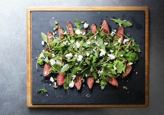 Flank Steak Salad with Feta and Arugula