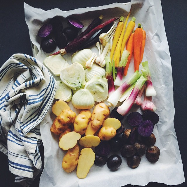 Roast the rainbow. Purple potatoes, white potatoes, rainbow carrots, fennel,…