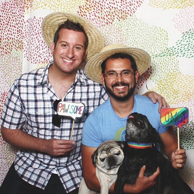 What do you think @motoridersd's pugs are thinking right now? This fun capture courtesy of the @AmigoBooth at the @WestfieldMV Dog Park Grand Opening.