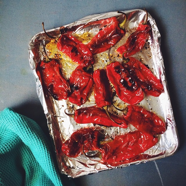 It's totally normal to blister up some red shishitos in your office toaster oven, right??