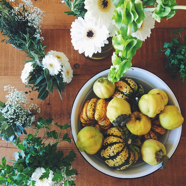For Thanksgiving I decorated the table with a mix of flowers and edible items. Parsley, sage, quince, rosemary, thyme and gooooorgeous carnival squash from my #specialtyproduceFMB! #KKTDay2014