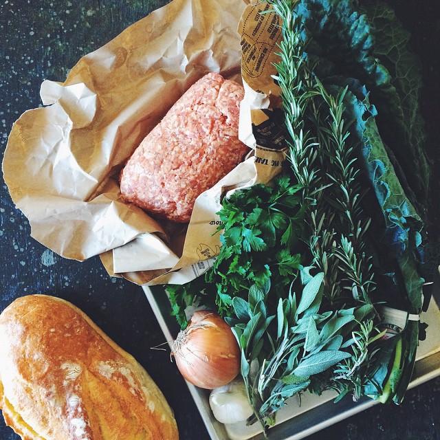 Stuffing #1 prep!! #KKTDay2014 Italian bread, mild Italian sausage, kale, onion, garlic and plenty of fresh herbs.
