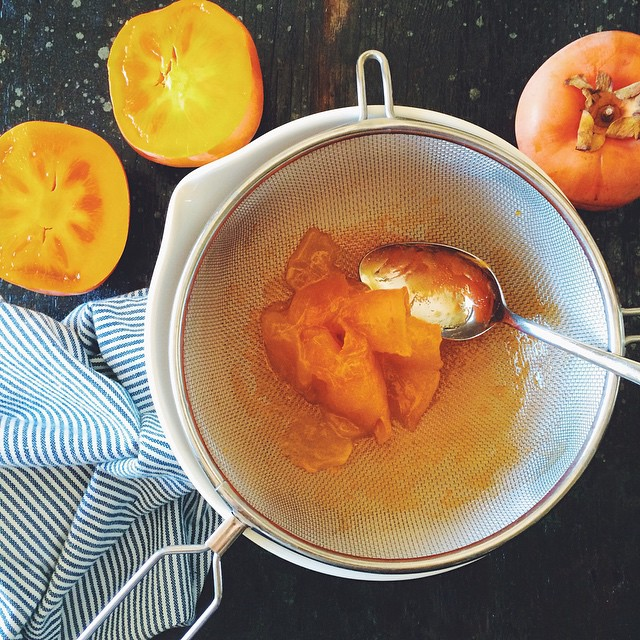Skins are inedible, but the fruit within is soft and sweet. Persimmon fool in progress. #KKTDay2014