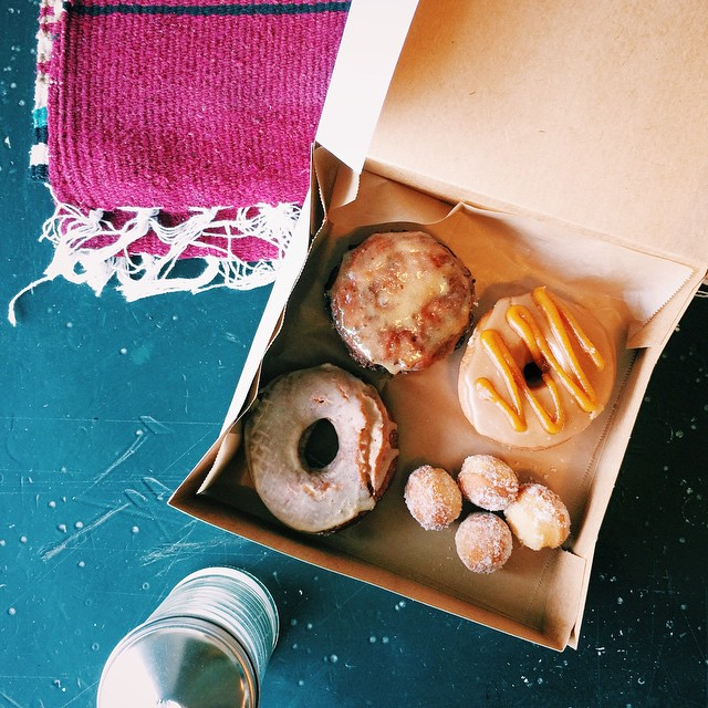 Donut Break!! Checking out the new @nomaddonuts in San Diego. The picks: gingerbread salted dulce de leche; sweet potato ginger with brown sugar glaze; lavender sugar holes; and potato bacon cheddar fritter with roasted garlic glaze. ????