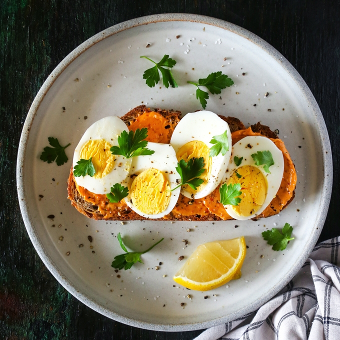 Hard Boiled Egg Toast Harissa Butter