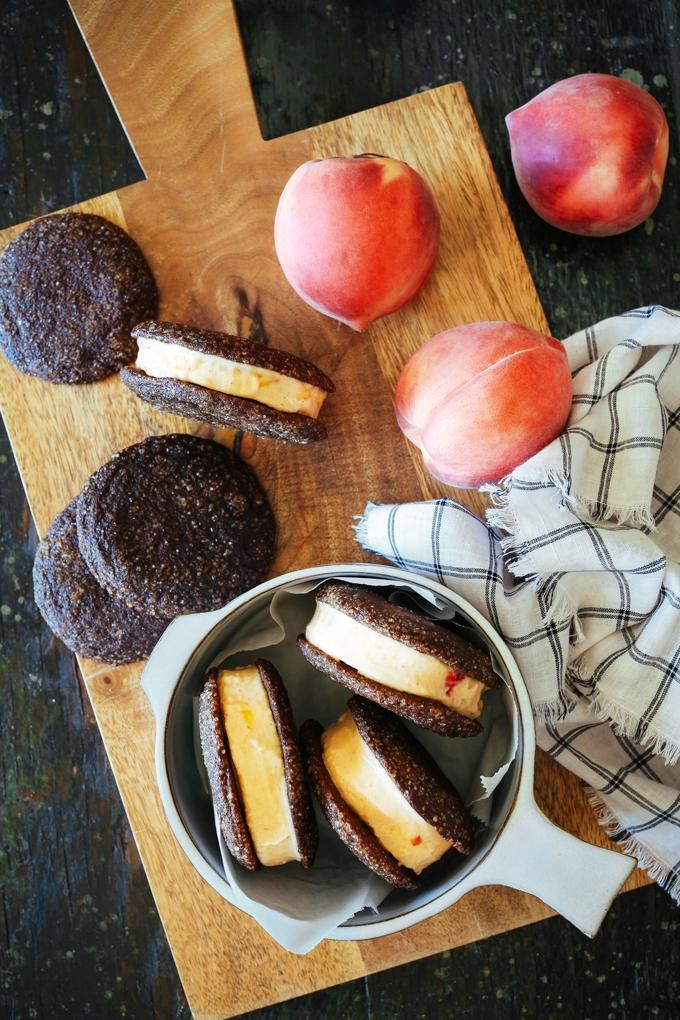 Peach Gingersnap Ice Cream Sandwiches