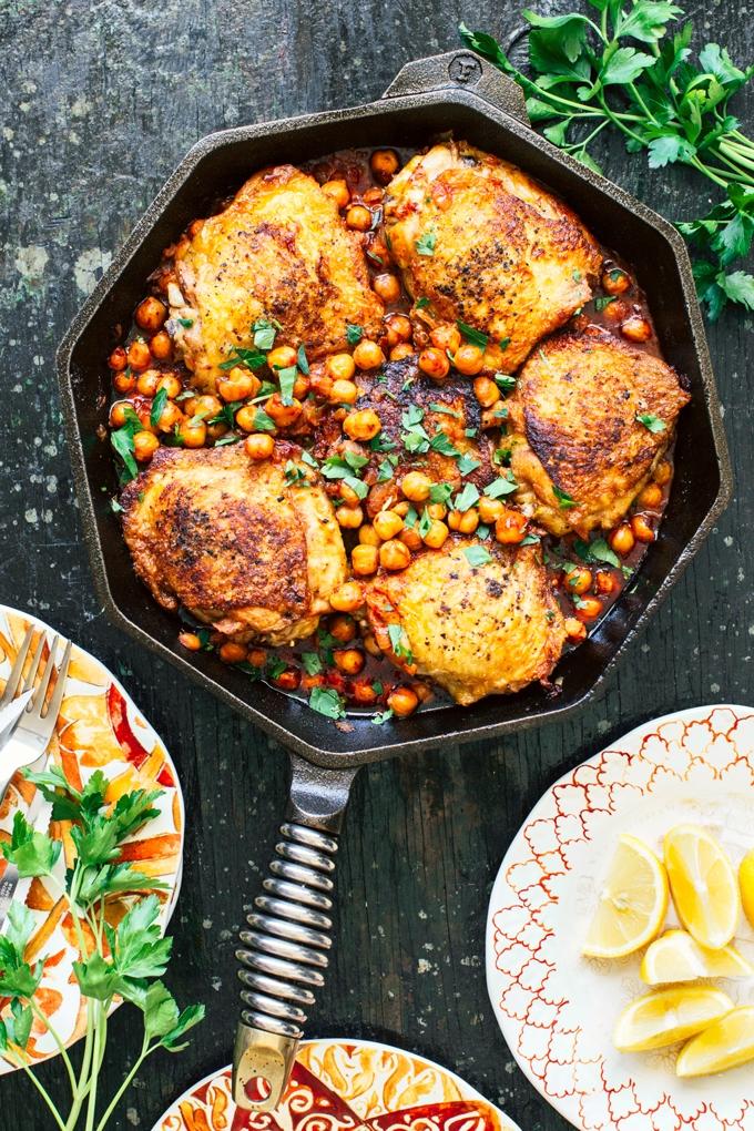 Pan-Seared Chicken with Harissa Chickpeas Recipe