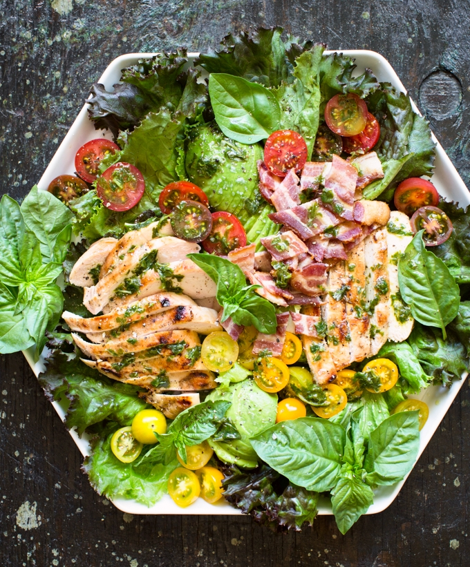 Grilled Lemon Chicken Salad with Basil Dressing