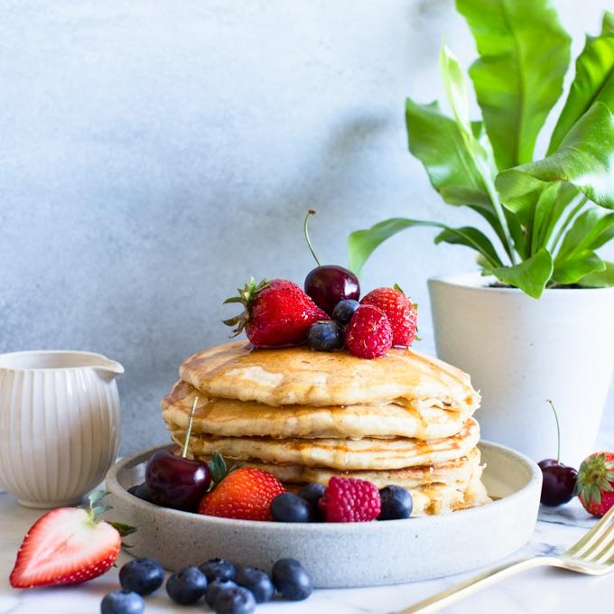 Cinnamon Yogurt Pancakes with Berries & Cherries