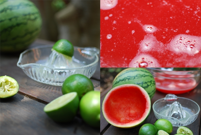 limes, juiced limes, watermelon juice, watermelons, hollow watermelons, juicer