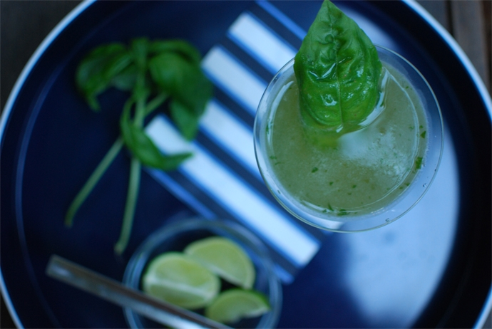 Summer Cocktails - Cucumber Lime Basil Martini