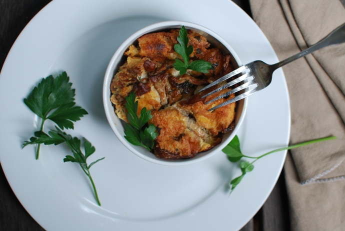 Chanterelle Bread Pudding