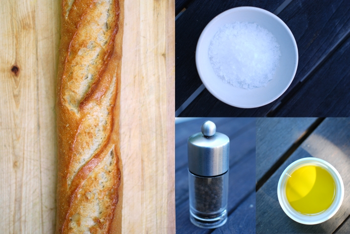 French Baguette, Flaky Sea Salt, Black Pepper and Extra Virgin Olive Oil