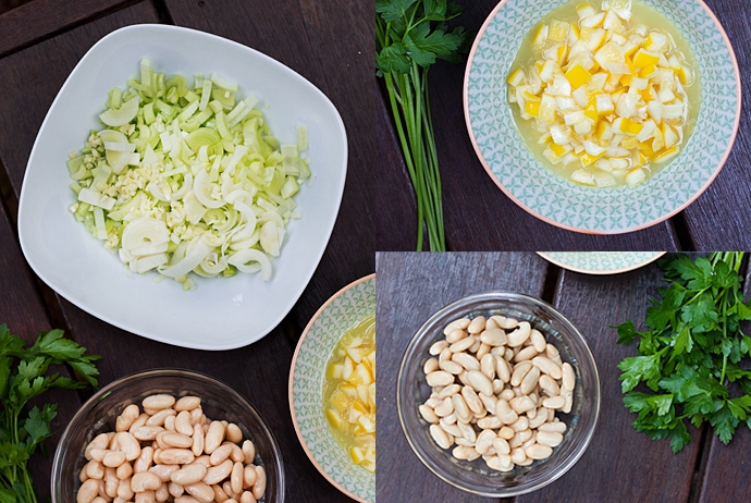 Leeks, Garlic, White Beans, Preserved Lemon and Parsley