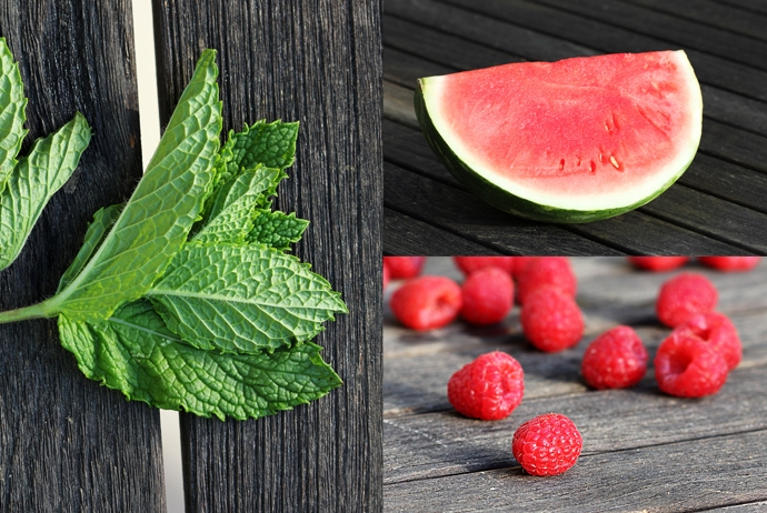 Mint, Watermelon and Raspberries
