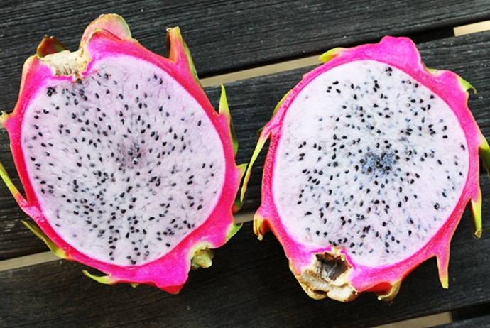 Halved Pink Dragon Fruit