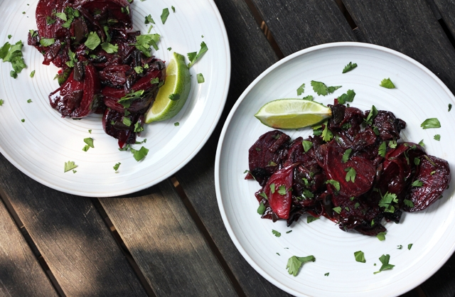 Roasted Beets with Red Onion, Poblano and Lime