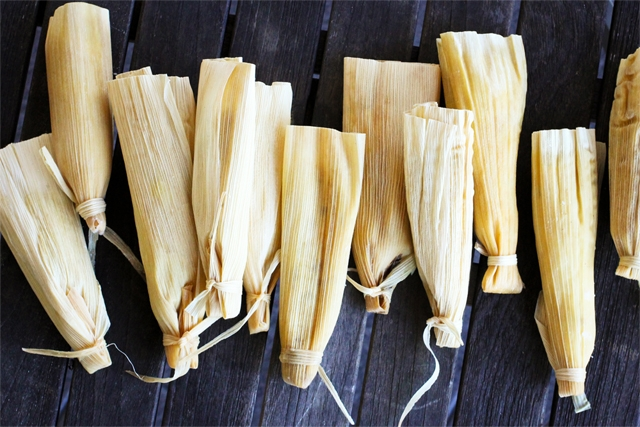 Roasted Pineapple Tamales with Riesling Poached Raisins