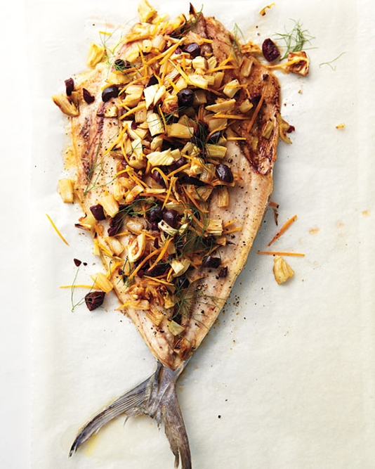 Mackerel with Roasted Fennel, Meyer Lemon, and Olives