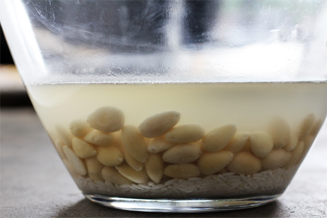 Soaking Rice and Almonds