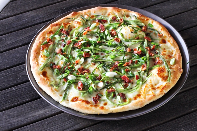Shaved Asparagus and Bacon Pizza