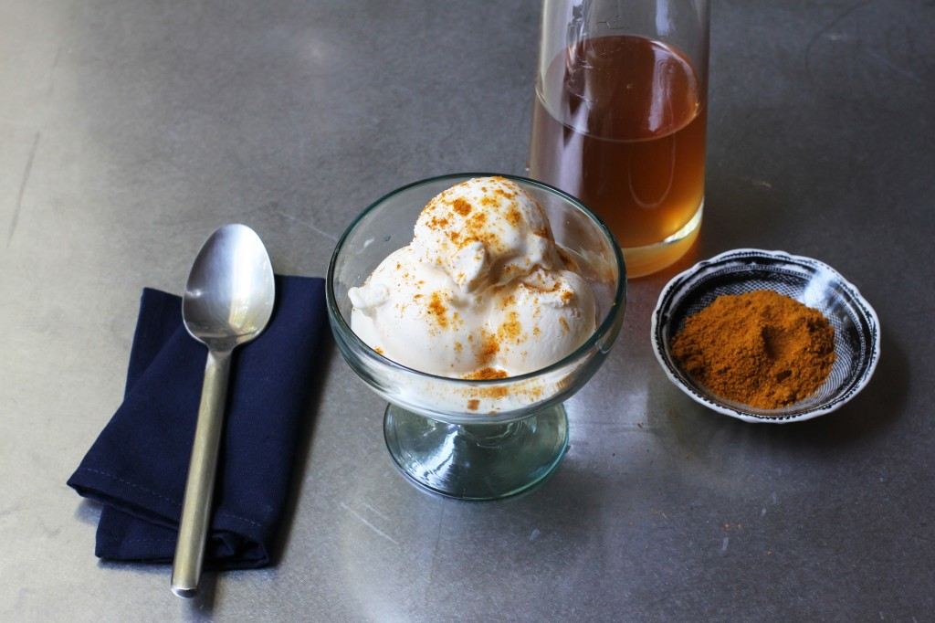 Vanilla Ice Cream with Ginger Syrup and Curry Powder
