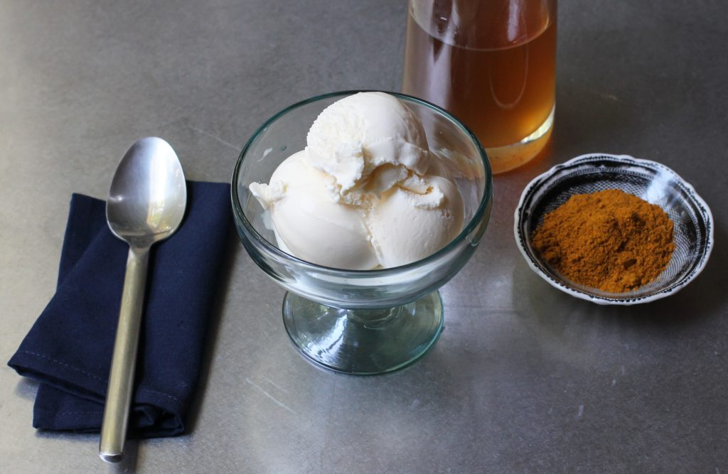 Vanilla Ice Cream, Ginger Syrup and Curry Powder