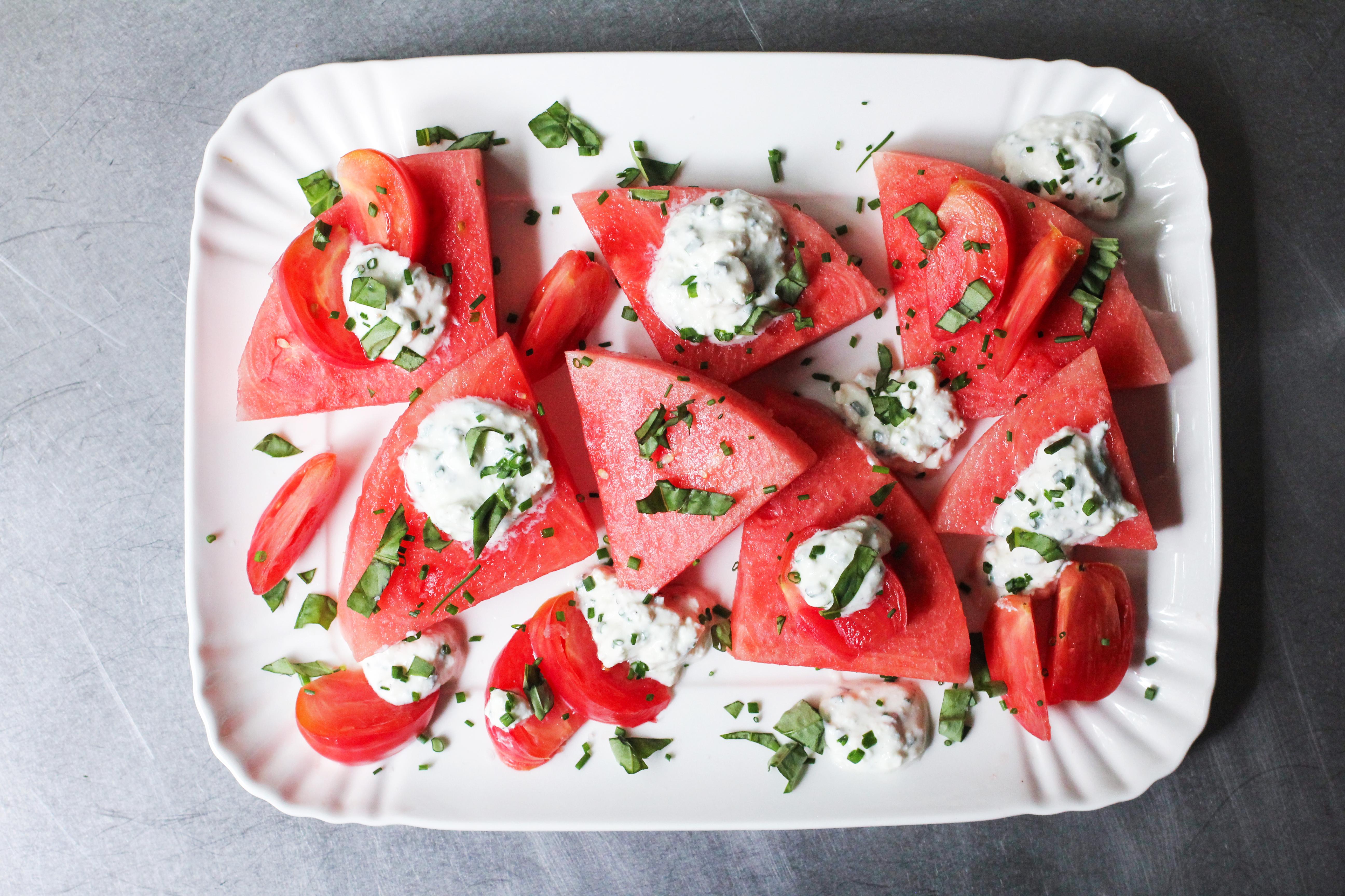 Watermelon, Heirloom Tomato And Feta Salad Recipes — Dishmaps