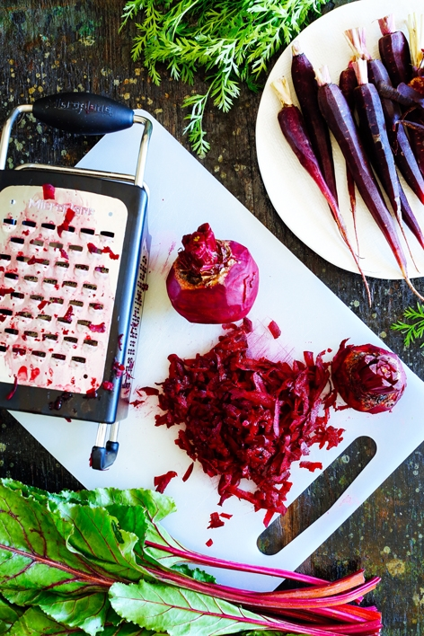 Raw Carrot and Beet Salad with Feta, Mint and Harissa