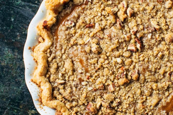 Bourbon Pumpkin Pie with Pecan Crumble
