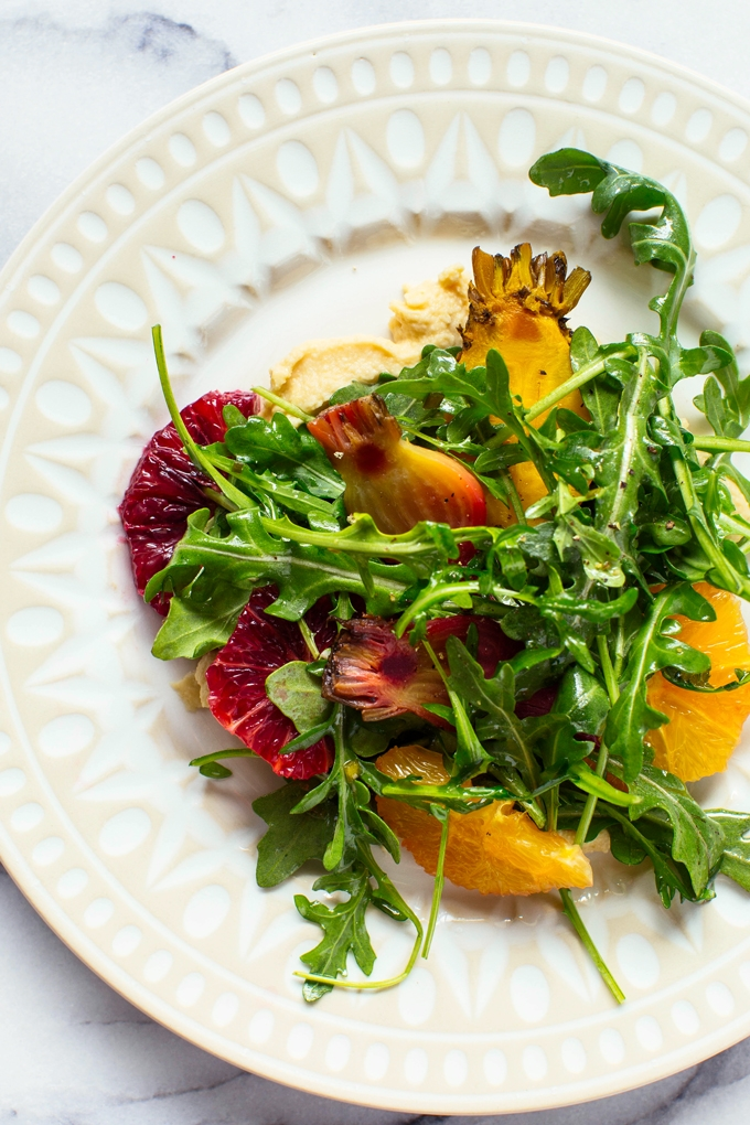 Arugula Salad with Hummus, Oranges and Roasted Beets
