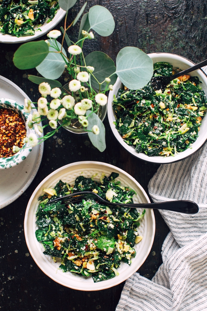 Shredded kale and brussels sprout salad recipe for Shredded brussel sprout salad recipe