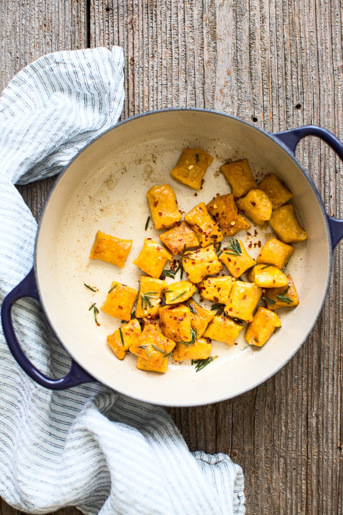 Pumpkin Ricotta Gnocchi with Rosemary Brown Butter Sauce