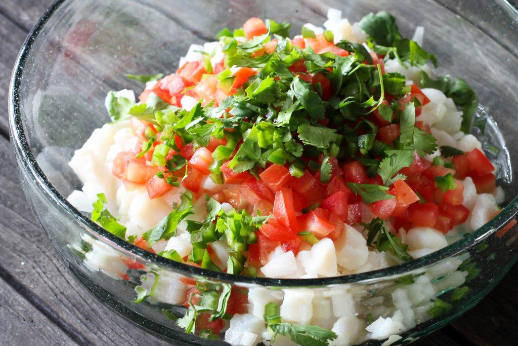 Fish, Onions, Tomatoes, Cilantro, Chiles