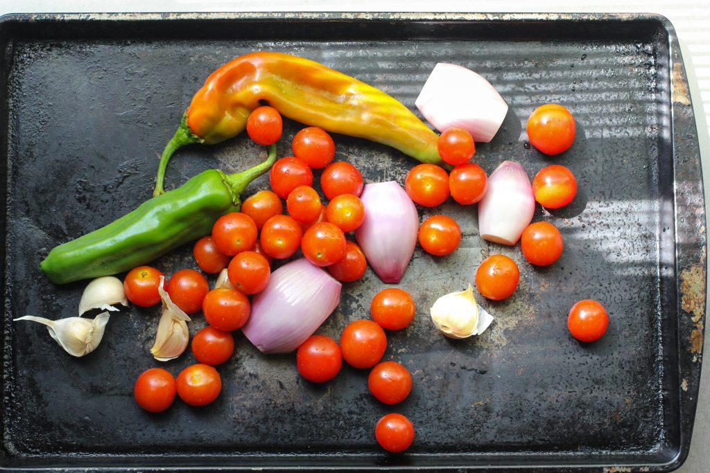 Hatch chiles, tomatoes, shallots and garlic.