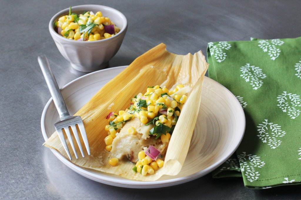 Pulled Pork Tamales with Corn Salsa