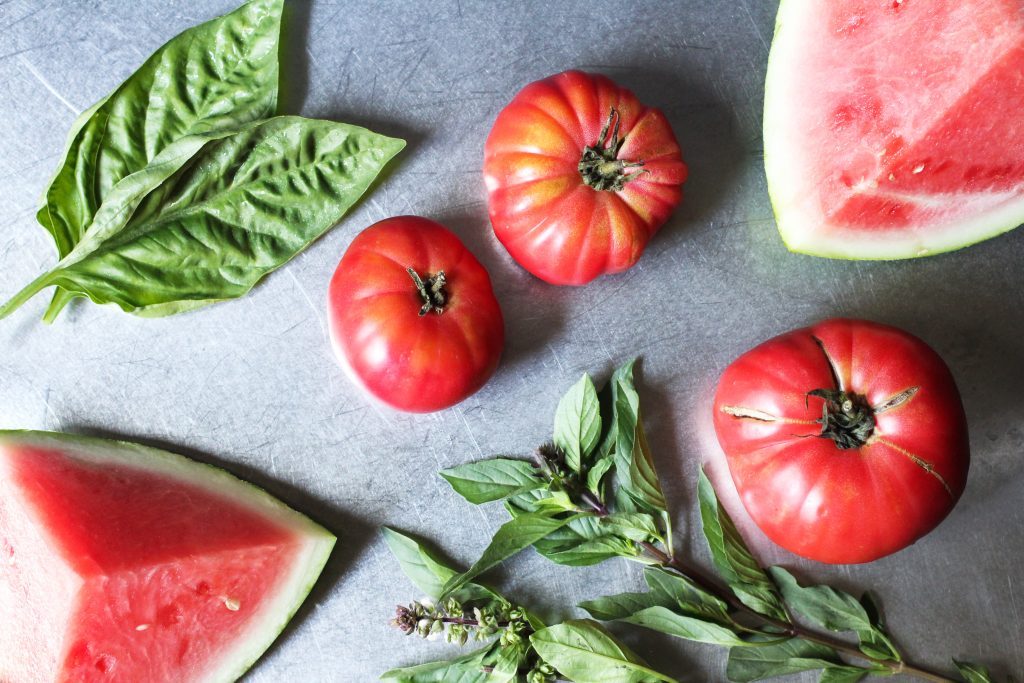 Watermelon, Tomato and Basil