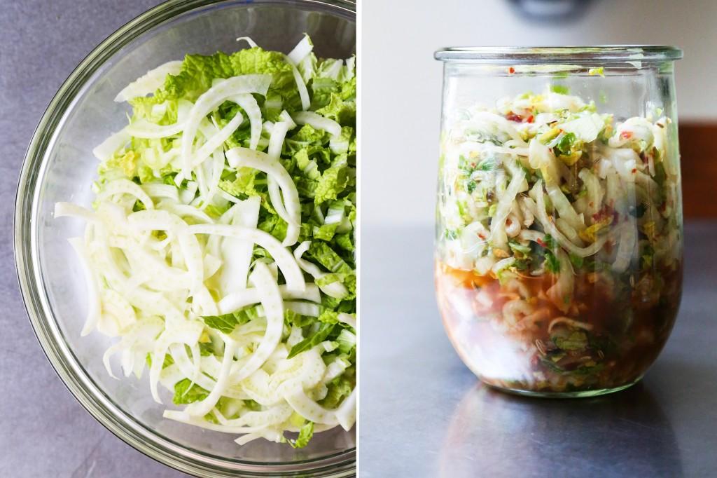 Quick Fennel and Cabbage Kimchi