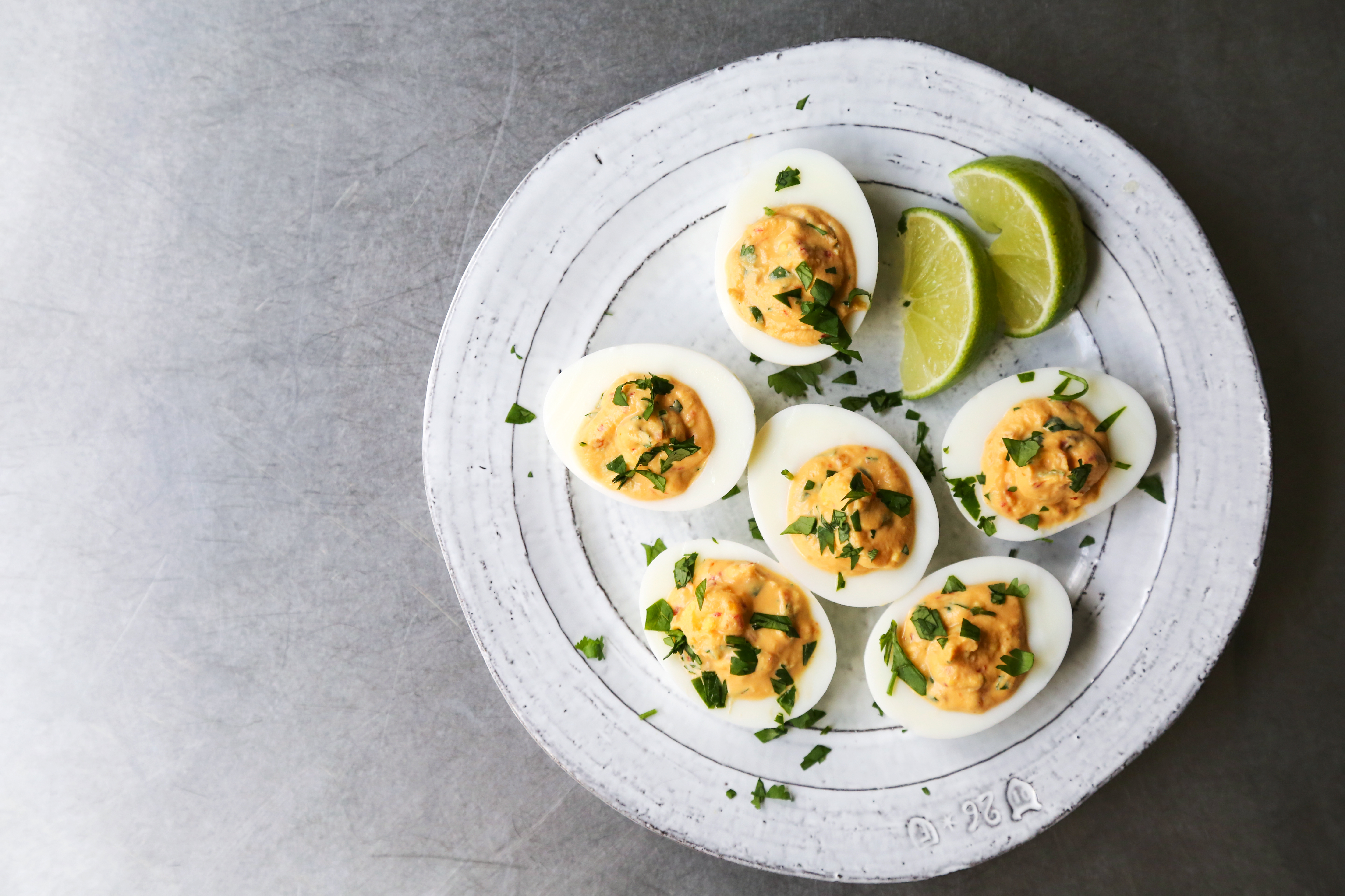 Chile Garlic Deviled Eggs