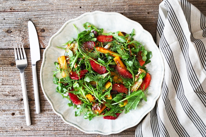 Roasted Carrot, Fennel and Blood Orange Salad