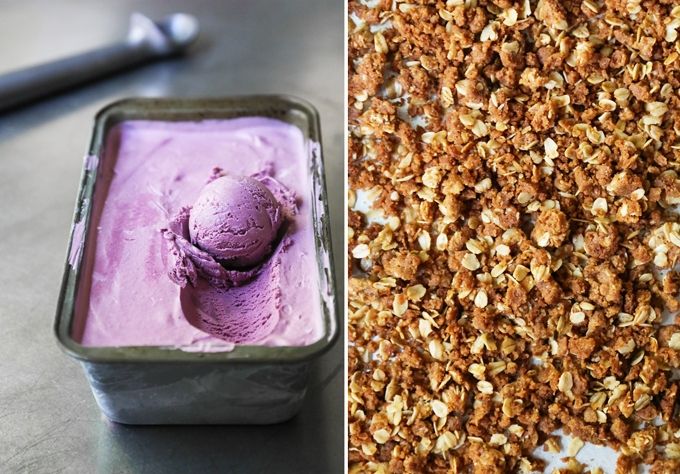 Blueberry Ice Cream Scoop and Crumble