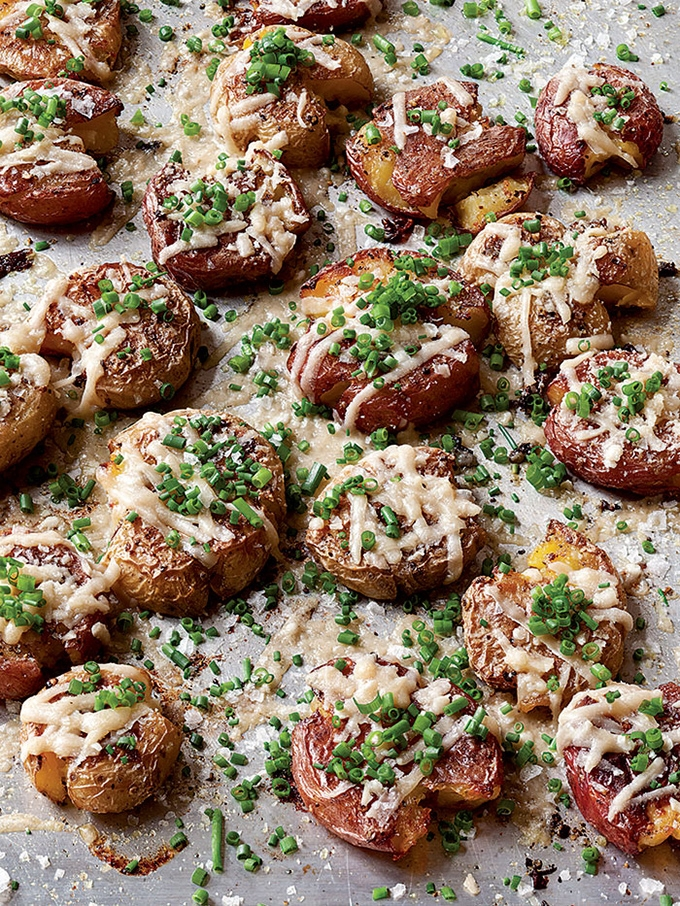 Ina Garten Make It Ahead Parmesan Chive Smashed Potatoes