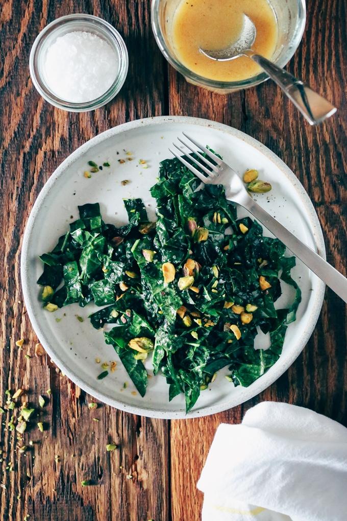 Kale Salad with Miso Lemon Vinaigrette