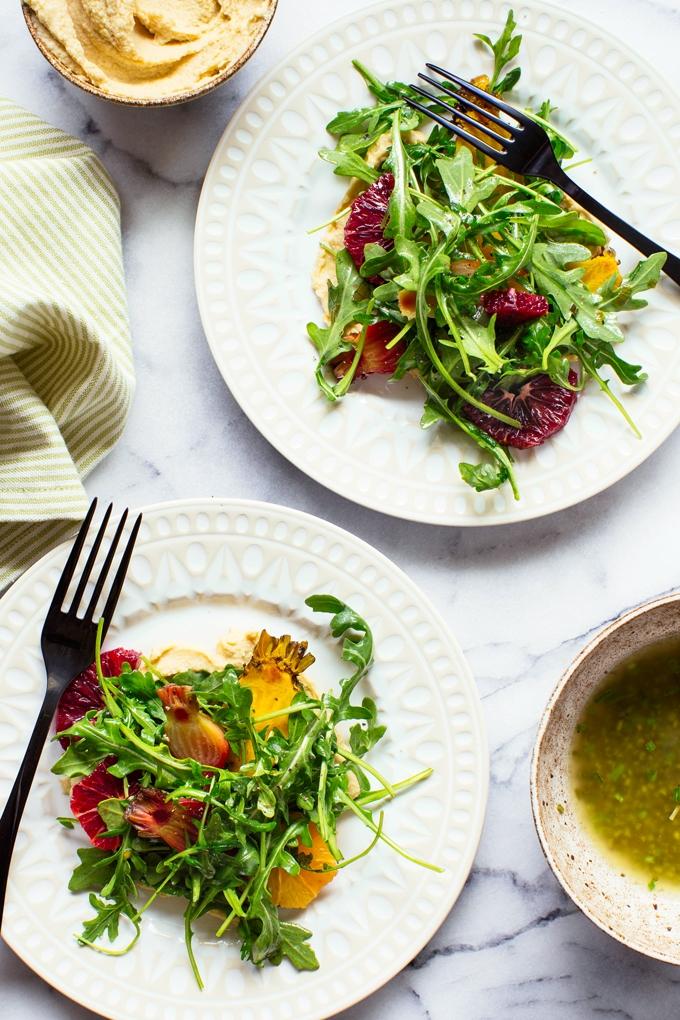 Arugula Salad with Hummus, Oranges and Roasted Beets