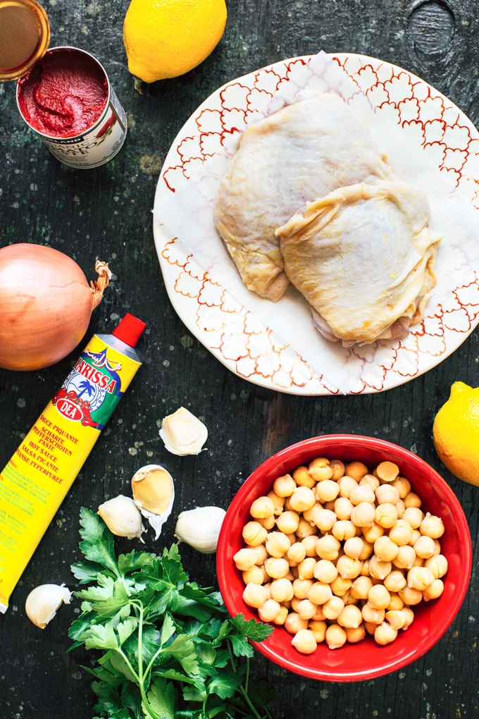 Pan-Seared Chicken with H arissa Chickpeas Ingredients