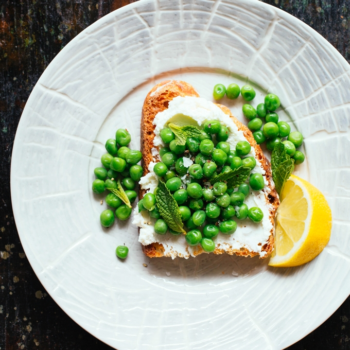 Pea, Mint and Goat Cheese Toast