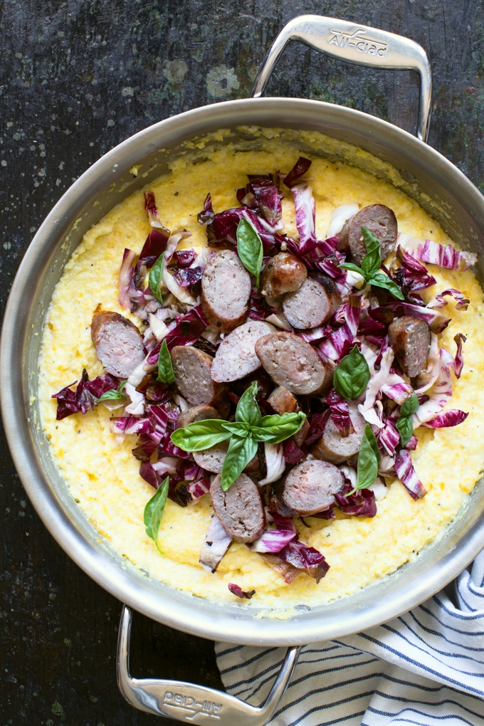 Baked Cheddar Polenta with Grilled Bratwurst and Radicchio