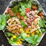 Grilled Lemon Chicken Salad with Basil Dressing